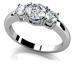 Rounded Band 3 Stone Engagement Ring