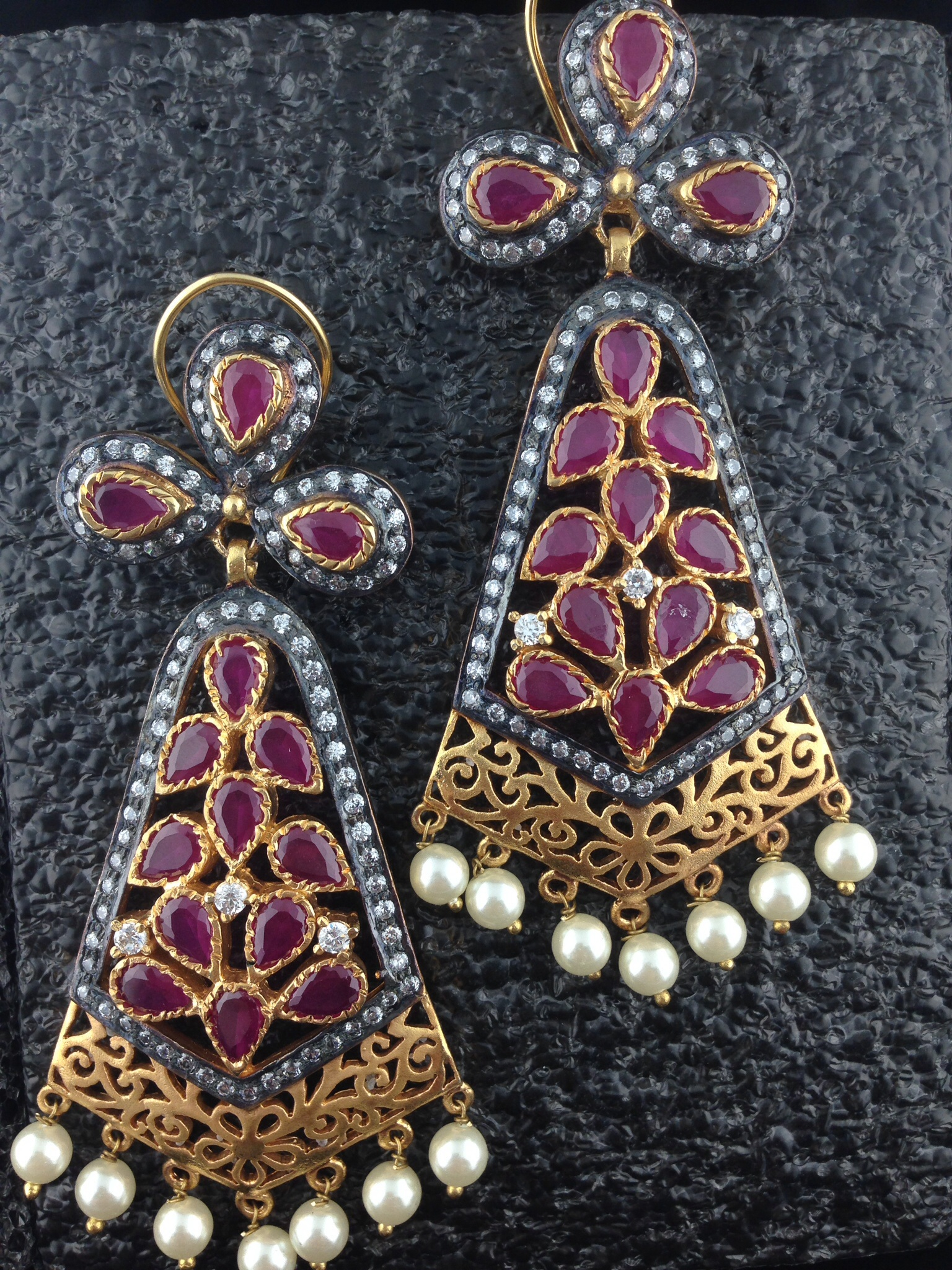 CZ Designer Earrings With Pink Sapphire And Pearls