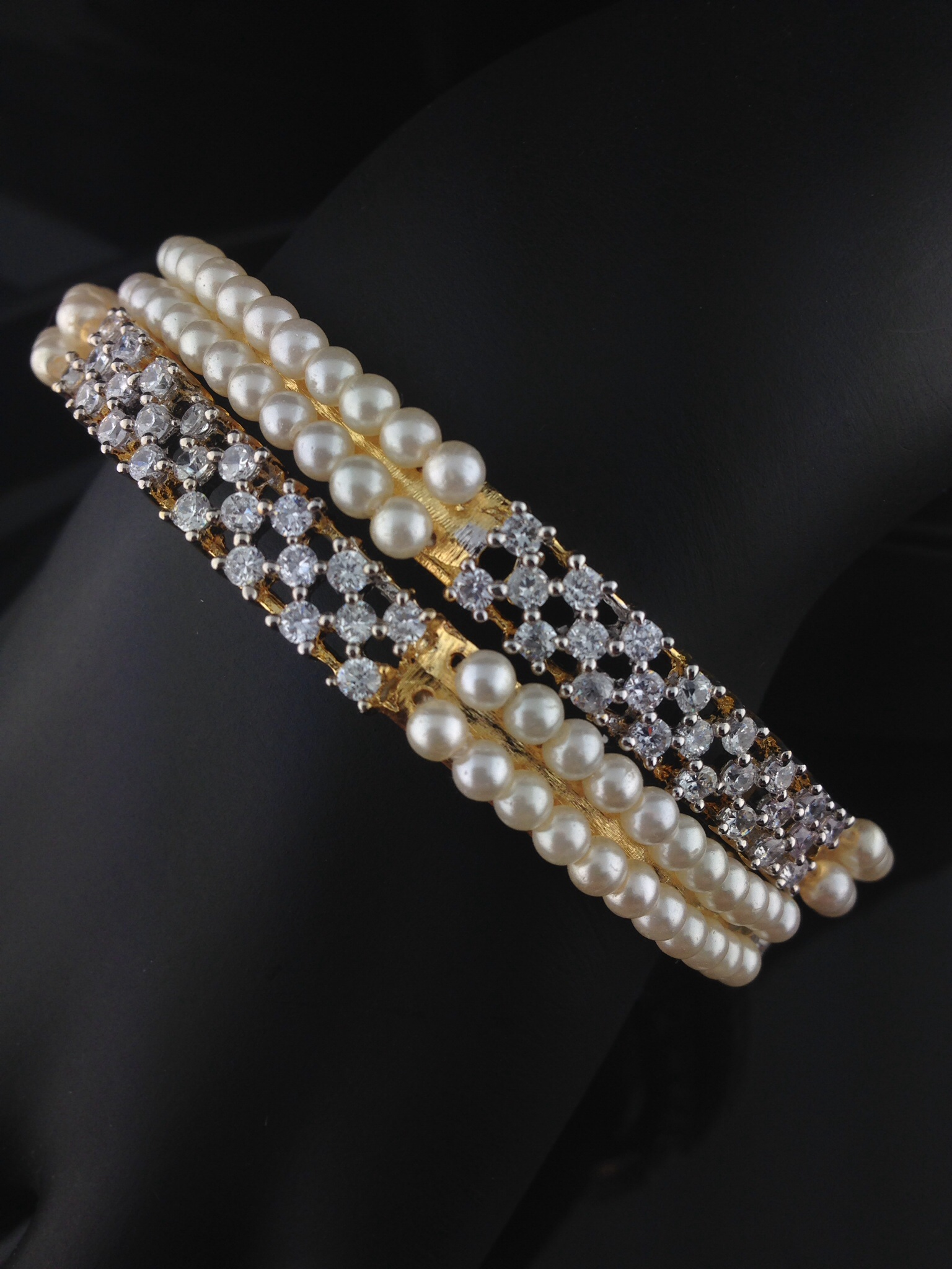 American Diamond And Pearl Bangles