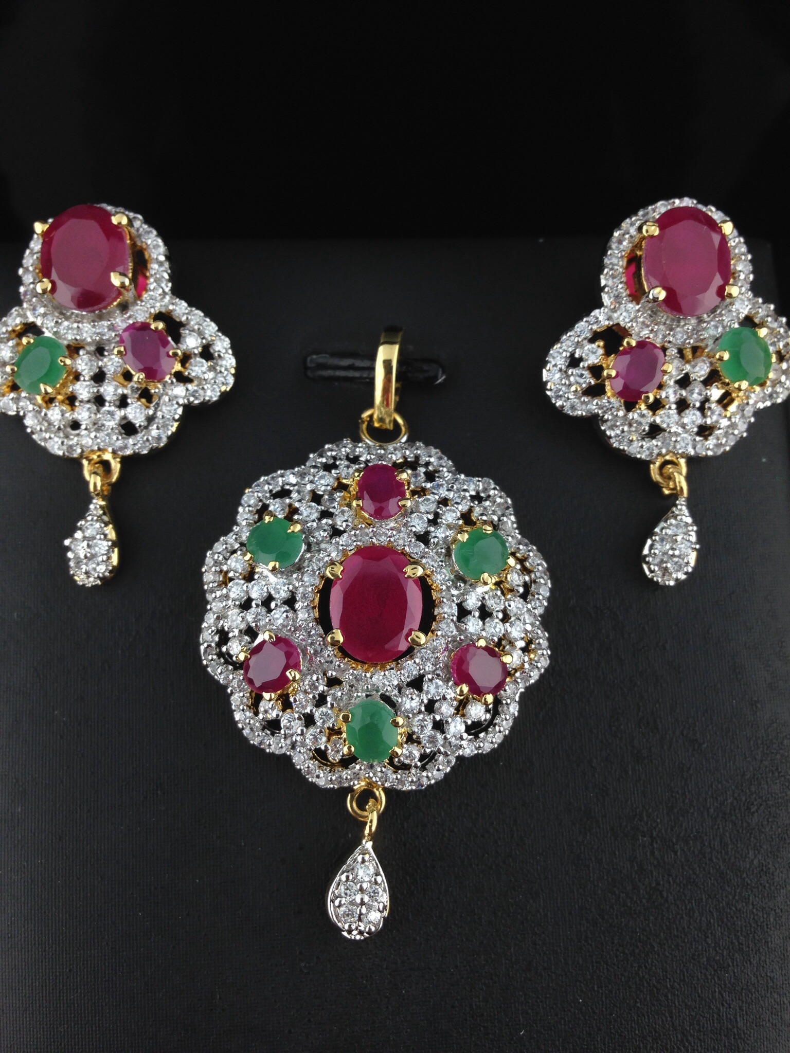 American Diamond CZ Pendant Set With Rubies and Emeralds.