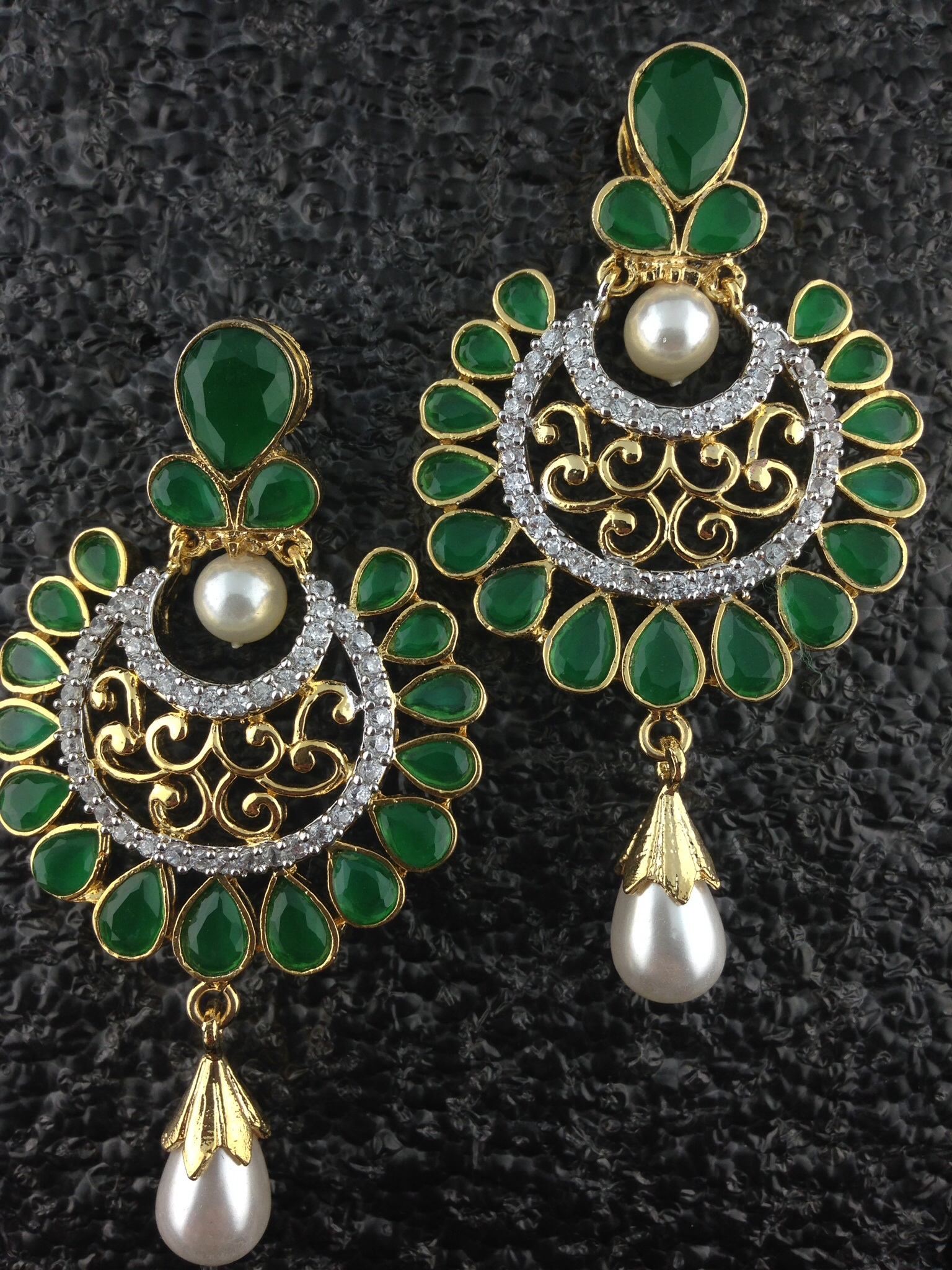 CZ Designer Circular Earrings With Emeralds and Pearls.