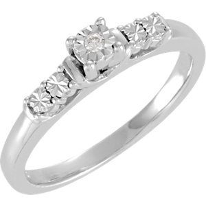 Sterling Silver .02 ct tw Diamond Illusion Engagement Ring Size