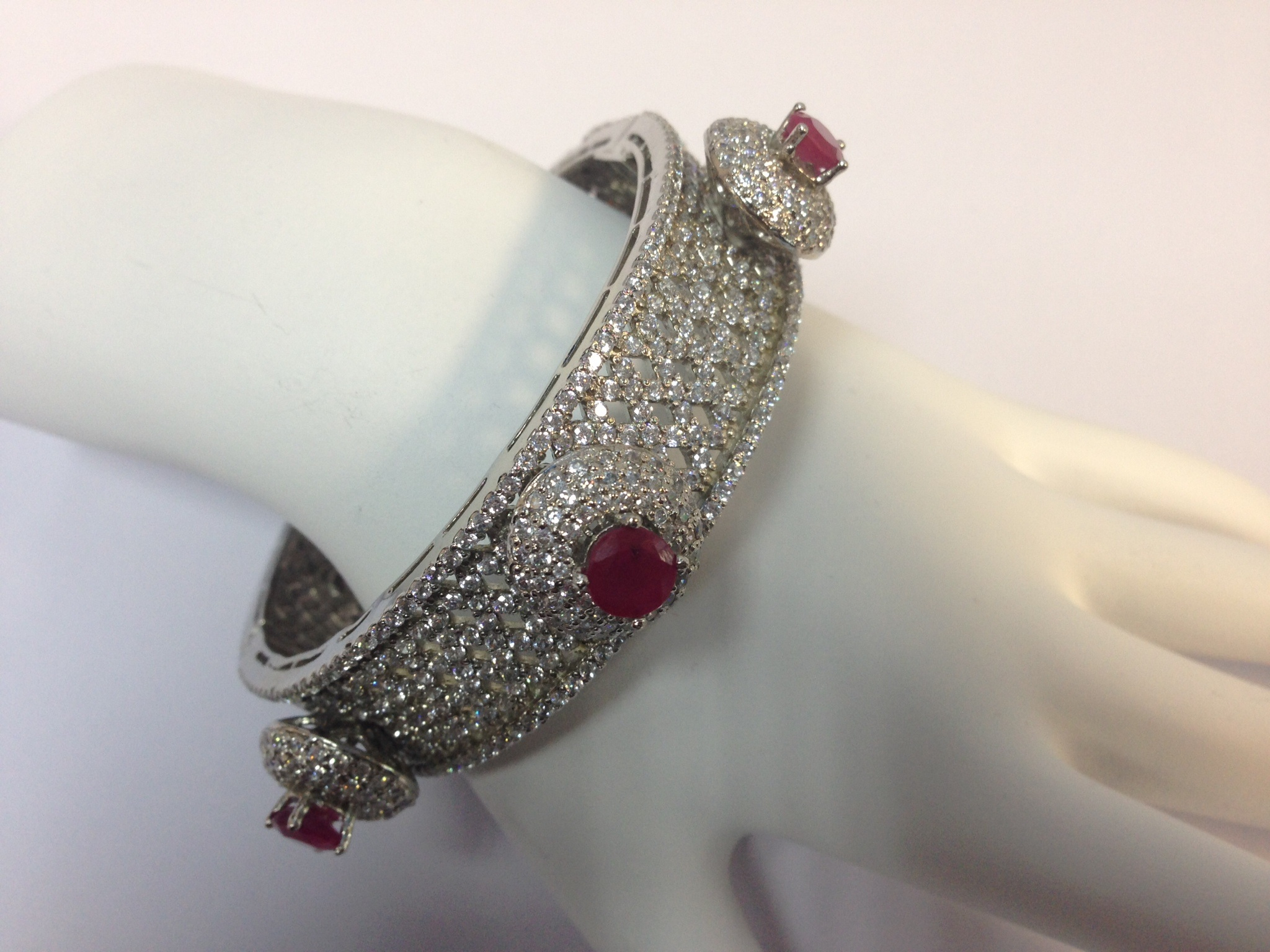 Exquisite Design Sterling Silver Ruby and Zirconia Bangle