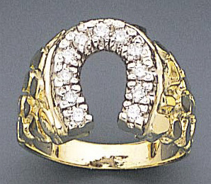 14k Gold Men\'s 0.40ct Diamond Horseshoe Ring