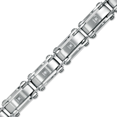 Men\'s Diamond Accent Stainless Steel Link Bracelet - 8.5""