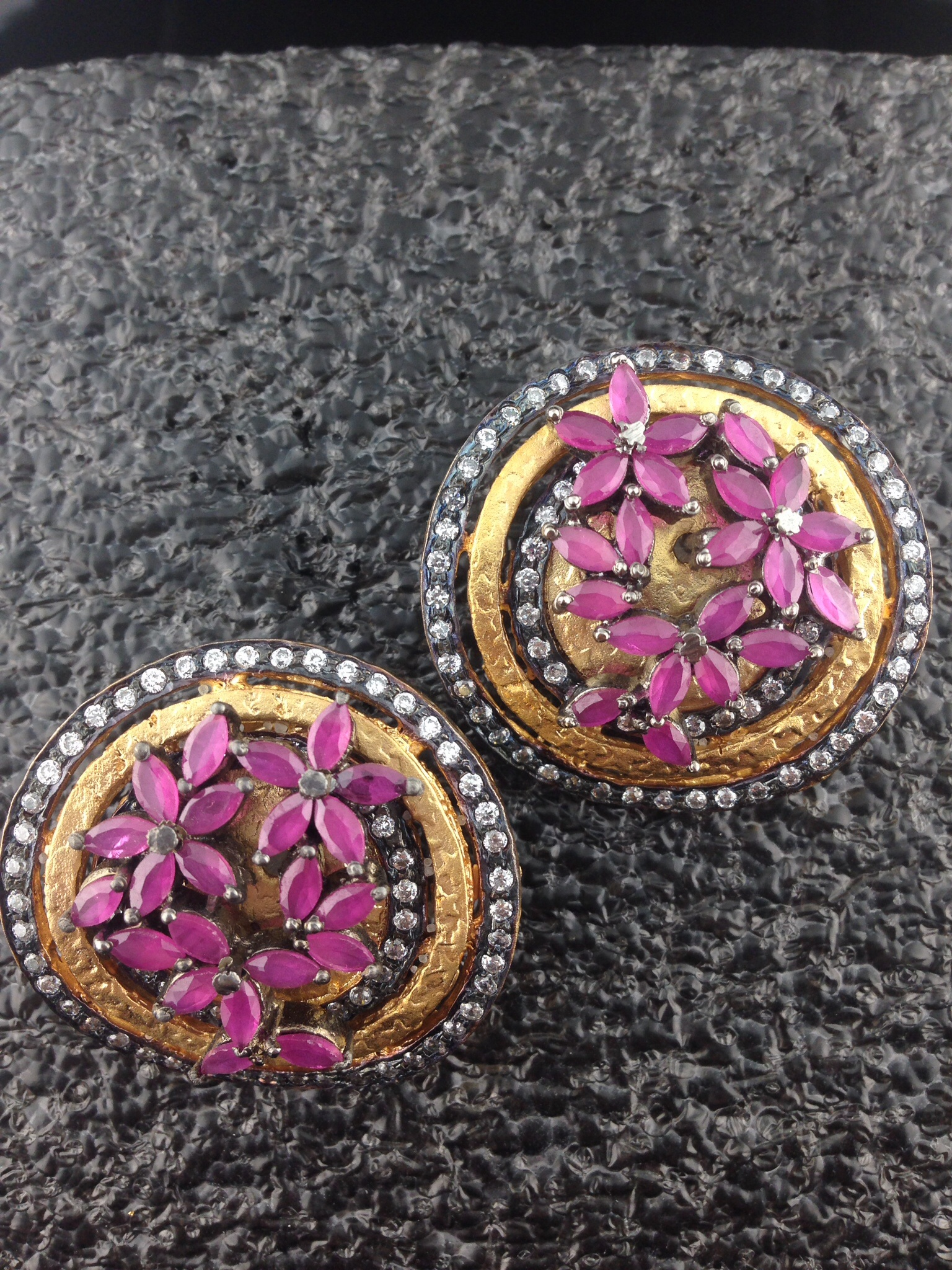 CZ Gold Polished Designer Tops With Pink Sapphire