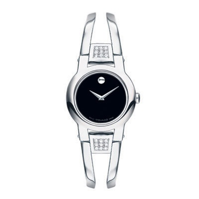 Ladies\' Movado Amorosa Stainless Steel Bangle Watch with Diamond