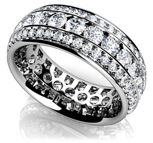 Three Row Round Diamond Eternity Band