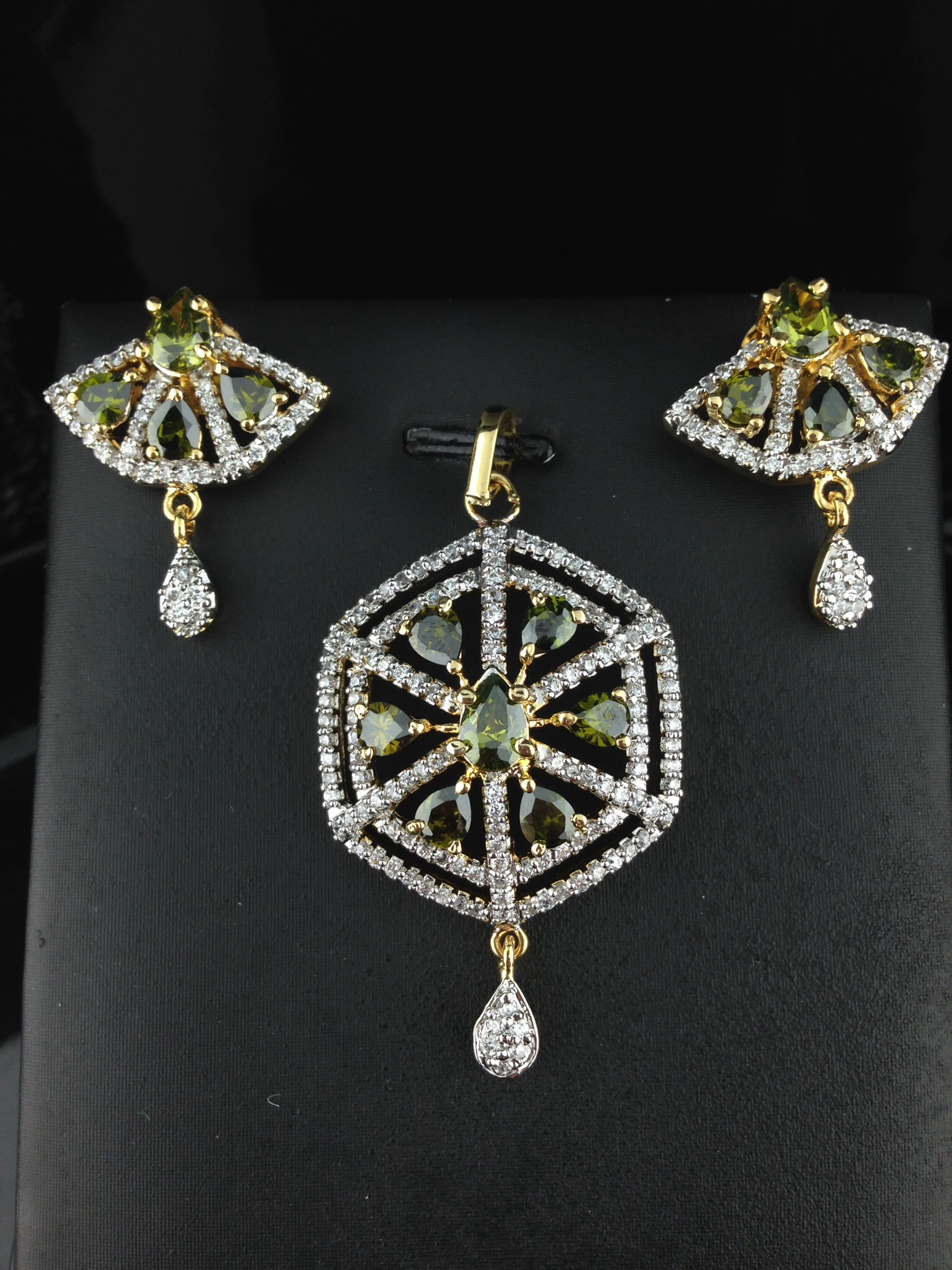 American Diamond CZ Pendant Set With Green Sapphires