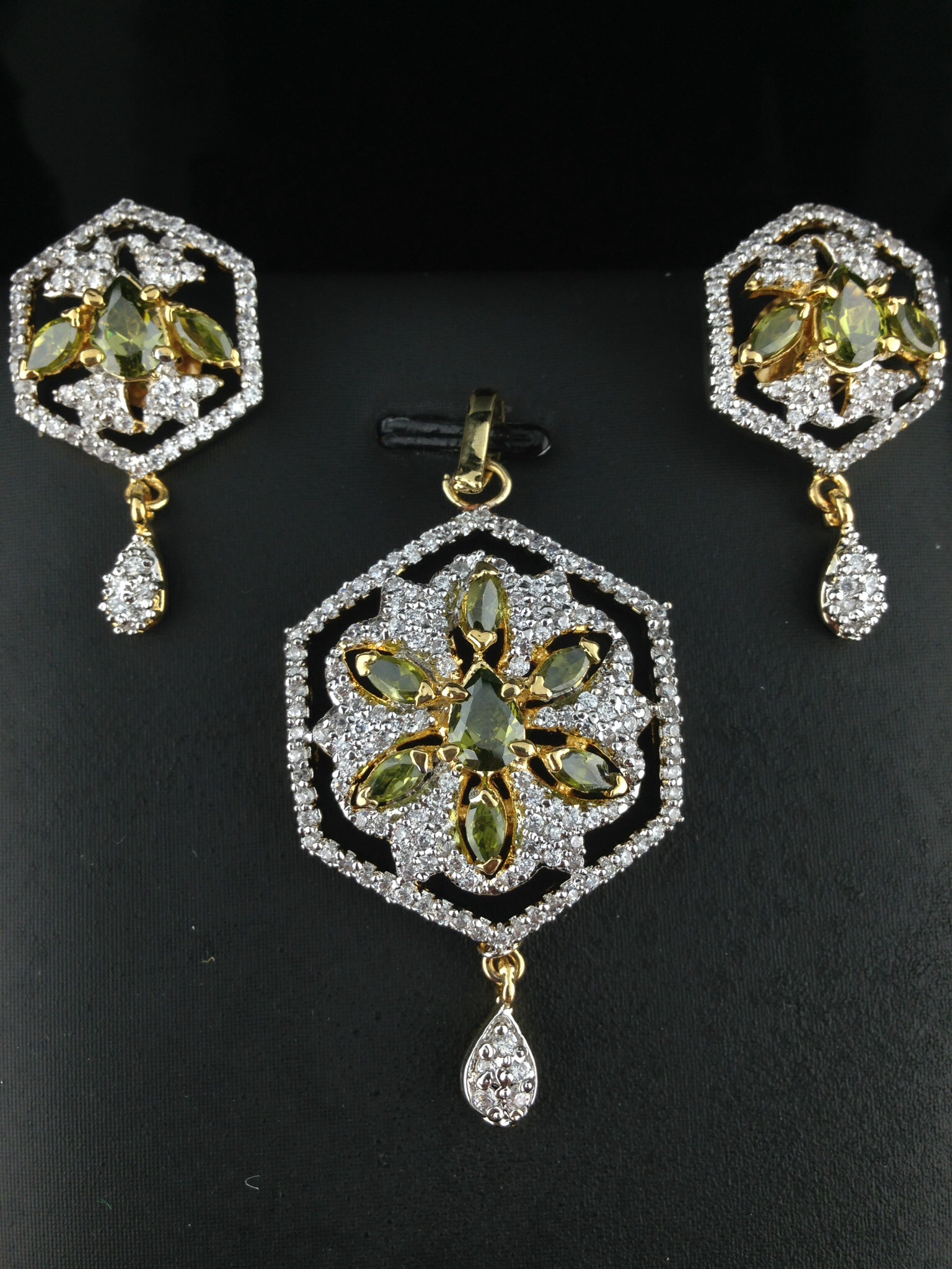 American Diamond CZ Pendant Set With Green Crystals