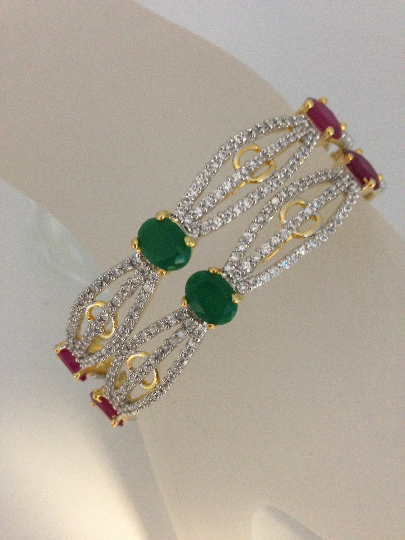 2 pc . Handmade Gold Plated CZ AD Bangle Bracelet Kada