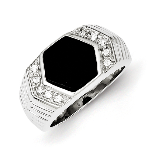 Sterling Silver Men\'s CZ And Onyx Ring