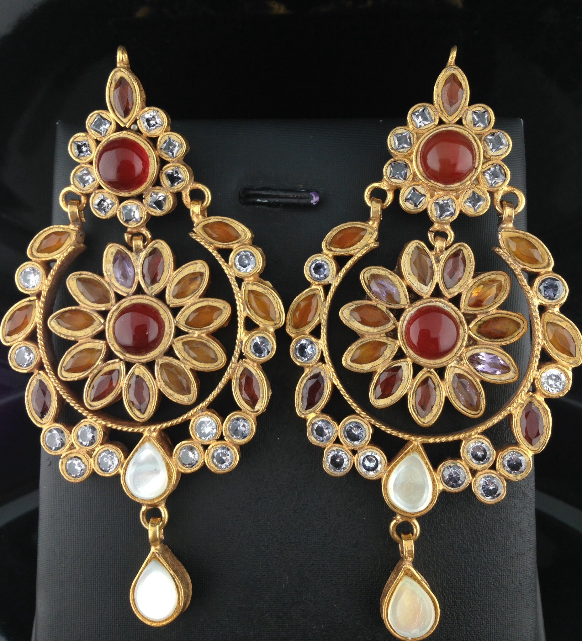 Kundan Earrings With Ruby and Champagne Stones.