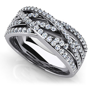 Captivating Woven Band Anniversary Ring