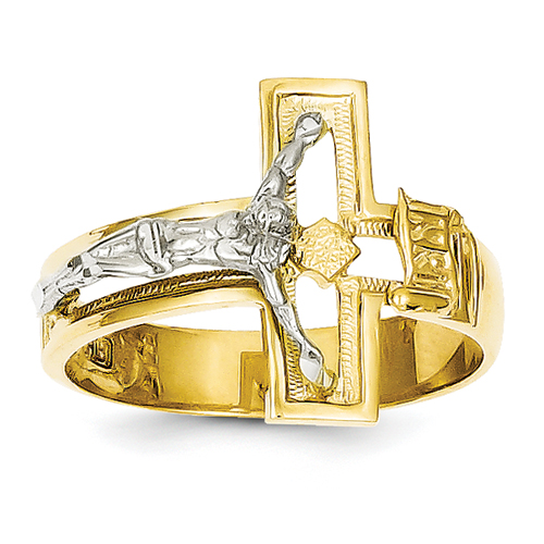 14K Two-Tone Crucifix Men\'s Ring