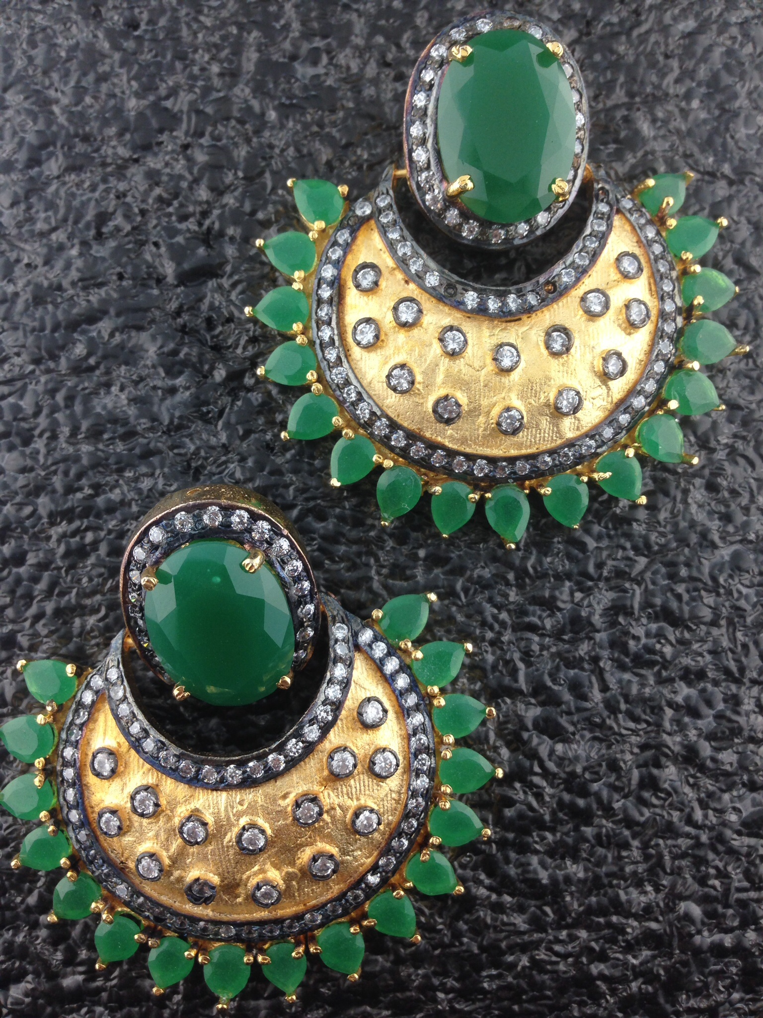 CZ Designer Earrings With Emeralds