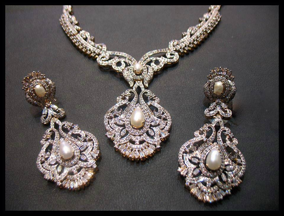 Elegant  Sterling Silver  Exquisite Bridal Necklace Set