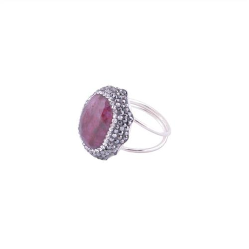Natural Gemstone Oval Ring
