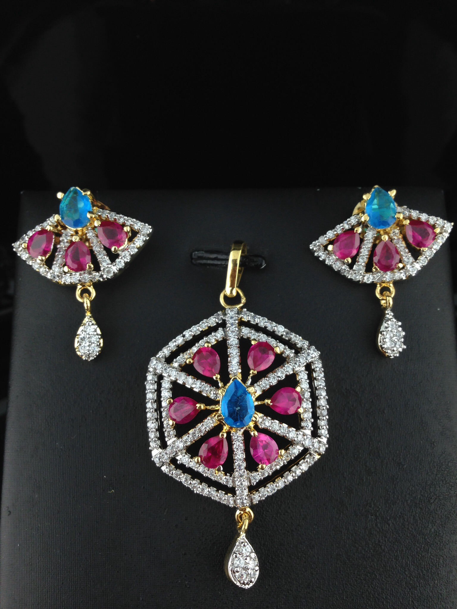 American Diamond CZ Pendant Set With Pink and Blue Sapphire
