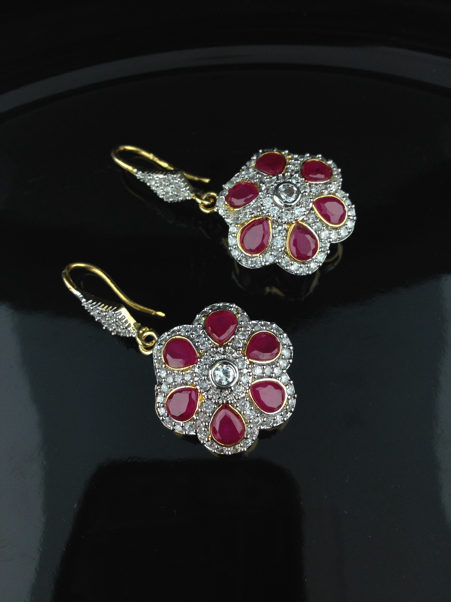 American Diamond CZ Flower Earrings With Pink Sapphire