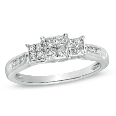 1/2 CT. T.W. Princess-Cut Quad Diamond Three Stone Ring in 14K W